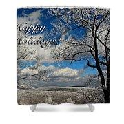 My Sunday Happy Holidays Card Shower Curtain