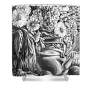 My Tea Kettle Black And White Shower Curtain