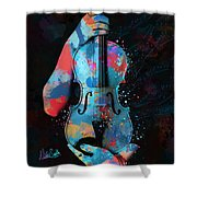 My Violin Whispers Music In The Night Shower Curtain by Nikki Marie Smith