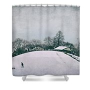 My Wintry Homey Snowy Planet Shower Curtain