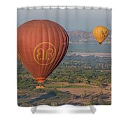 Myanmar. Bagan. Hot Air Balloons. In The Air. Shower Curtain