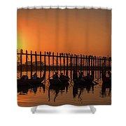 Myanmar. Taungthaman Lake. U Bein Bridge. Sunset. Shower Curtain