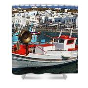 Mykonos Greece Fishing Boats Shower Curtain