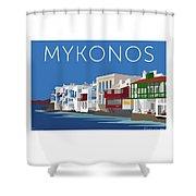 Mykonos Little Venice - Blue Shower Curtain by Sam Brennan