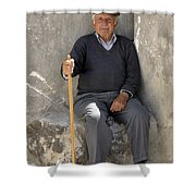 Mykonos Man With Walking Stick Shower Curtain