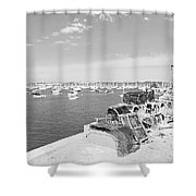 Mylor Quay In Cornwall Monochrome Shower Curtain