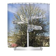 Mylor Signpost Shower Curtain