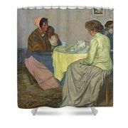 Myron G. Barlow 1873 - 1937 Dutch Women Drinking Coffee Shower Curtain