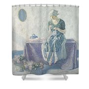 Myron G. Barlow 1873 - 1937 Peasant Sewing Shower Curtain