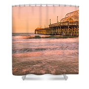 Myrtle Beach Apache Pier At Sunset Panorama Shower Curtain