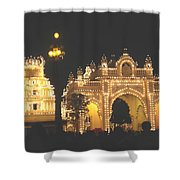 Mysore Palace Main Gate Temple Gloriously Lit At Night Shower Curtain