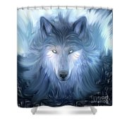 Mysterious Wolf Hand Painted Shower Curtain