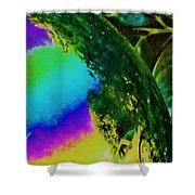 Mysterious Planet Beside Leaves Shower Curtain