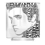 Mystery Train Elvis Wordart Shower Curtain
