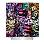Mystic City Faces - Version B  Shower Curtain
