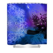 Mystic Poppy Blue Purple  Shower Curtain