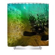 Mystic Poppy Yellow Green  Shower Curtain
