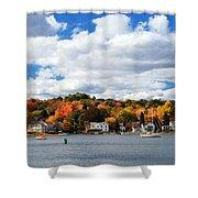 Mystic River In Autumn Shower Curtain