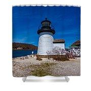 Mystic Seaport Lighthouse Shower Curtain
