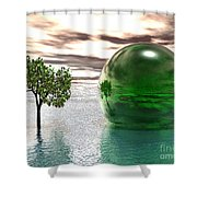 Mystic Surreal In Green Shower Curtain