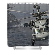 N Mh-60s Knight Hawk Delivers Supplies Shower Curtain