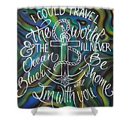 N/z Abalone /lettering Shower Curtain