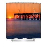 Nags Head Fishing Pier Sunrise Panorama Shower Curtain