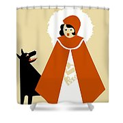 Naive Art Deco Little Red Riding Hood Shower Curtain