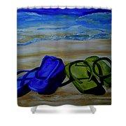 Naked Feet On The Beach Shower Curtain by Patti Schermerhorn