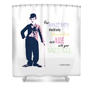Naked Soul Quote Shower Curtain