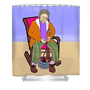 Nana Knitting Shower Curtain