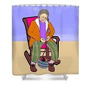 Nana Knitting Shower Curtain