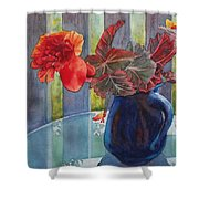 Nancy's Begonias Shower Curtain