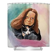 Nandi And Her Cat Shower Curtain by Charles Hetenyi