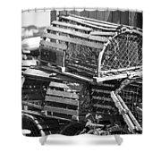 Nantucket Lobster Traps Shower Curtain