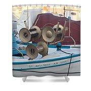 Naoussa Boat Paros Island Greece  Shower Curtain