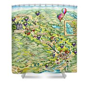 Napa Valley Illustrated Map Shower Curtain