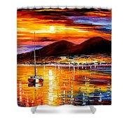 Naples - Sunset Above Vesuvius Shower Curtain