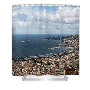 Naples Italy Aerial Perspective - Coastal Beauty Of Mergellina, Posillipo And Marechiaro Shower Curtain