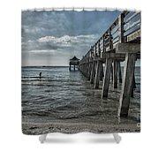 Naples Pier And Beach Fun Shower Curtain