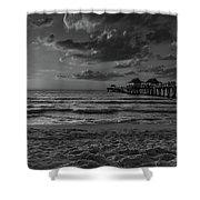 Naples Pier Bw  Shower Curtain