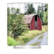 Naples Red Barn  Shower Curtain