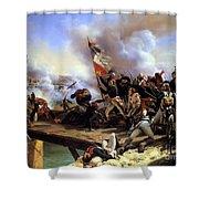 Napoleon Bonaparte Leading His Troops Over The Bridge Shower Curtain