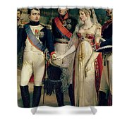 Napoleon Bonaparte Receiving Queen Louisa Of Prussia Shower Curtain by Nicolas Louis Francois Gosse