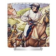Napoleon Making A Narrow Escape With An Austrian Cavalry Patrol Close On His Heels Shower Curtain