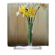 Narcissus In Glass Vase Shower Curtain