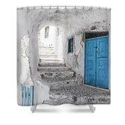 Narrow Alley And Stairway On Santorini Shower Curtain