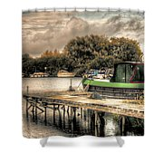 Narrow Boat And Jetty Shower Curtain