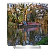Narrow Boat On Wey Navigation - P4a16008 Shower Curtain