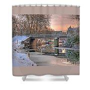 Narrow Boats Under The Bridge Shower Curtain